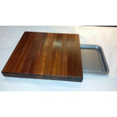 Dark wood chopping block with tray